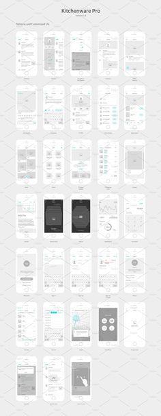 Kitchenware Pro - iOS Wireframe Kit by Neway Lau on @creativemarket