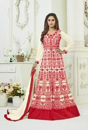 Add grace and charm to your appearance in this beautiful Krystle Dsouza cream and red faux georgette floor length anarkali suit. It has been beautifully designed with embroidered, lace and resham work. Indian Dresses For Women, Indian Outfits, Lehenga Style, Net Lehenga, Lehenga Choli, Sari, Salwar Kameez Online Shopping, Floor Length Anarkali, Bollywood Dress