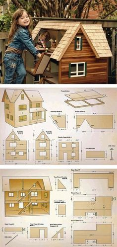 Doll House Plans - Wooden Toy Plans and Projects | WoodArchivist.com #woodworkingplans #woodentoy #dollhouse