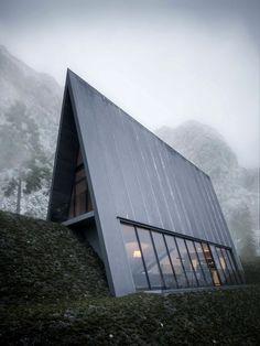 Une maison triangulaire en montagne pour les vacances ©Matthias Arndt