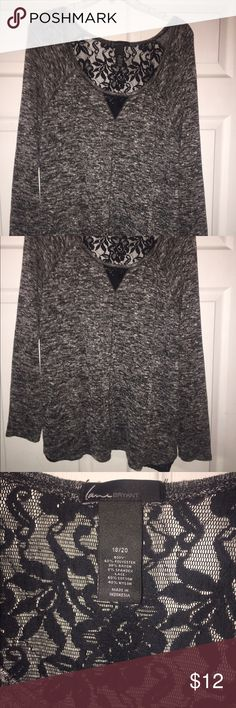 Lane Bryant sweater This lovely Lane Bryant sweater is as comfortable as it is fashionable! It's got a gorgeous lace back & the  lace embellishments on the bottom sides of the sweater add a little something extra. Size 18/20 Lane Bryant Sweaters Crew & Scoop Necks