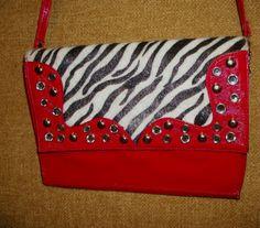 Red Patent Leather with Black and White Zebra Print Fabric Shoulder Strap Purse #Unbranded #Evelopefrontflapshoulderstrapbag