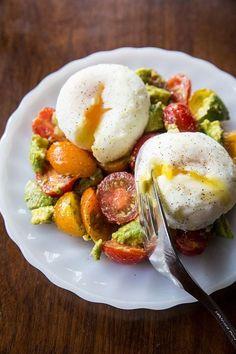 Pesto Tomato, Egg & Avocado Breakfast Salad  It's packed with protein.
