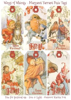 etiquetas navidad Wings of Whimsy: Margaret Tarrant Pixie Tags Vintage Tags, Vintage Paper, Vintage Postcards, Vintage Birds, Christmas Gift Tags, Vintage Christmas, Diy Wings, Postcard Art, Baby Kind
