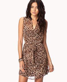 Leopard Print Chiffon Dress | FOREVER21 - 2053677470   18,74 euro