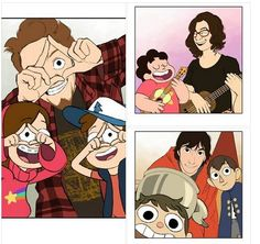 Cartoon Shows with Their Creators ( Gravity Falls, Steven Universe and Over Garden Wall ) Mugiwara No Luffy, Desenhos Gravity Falls, Gavity Falls, Universe Love, Fandom Crossover, Gravity Falls Crossover, Cartoon Crossovers, Over The Garden Wall, Animation