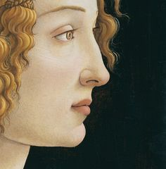 artdetails:  Sandro Botticelli,Idealized Portrait of a Lady, 1480