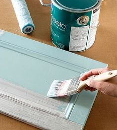 How to Paint Cabinets or Furniture... using liquid sandpaper (deglosser)....  cuts out the sanding step. From Better Homes and Gardens
