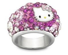 SALE Genuine Swarovski Hello Kitty Ring Excellent condition, This hello kitty ring made by Swarovski features hello kitty's face with different sized pink stones. Does not come in original box. Swarovski Outlet, Swarovski Ring, Swarovski Crystals, Sanrio Hello Kitty, Design Plaque, Hello Kitty Jewelry, Palladium, Cat Ring, Hello Kitty Collection
