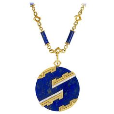 1970s Italian Lapis Diamond Gold Necklace with Pendant | From a unique collection of vintage chain necklaces at https://www.1stdibs.com/jewelry/necklaces/chain-necklaces/