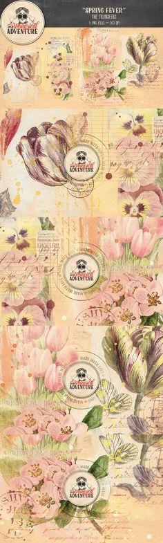 Spring Fever Transfers. Textures. $7.00