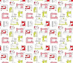 Vintage Sewing Machine Fashion Fabric by littlesmilemakers