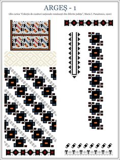Semne Cusute: MUNTENIA - model de ie din Arges - 1 Cross Stitch Borders, Cross Stitching, Cross Stitch Patterns, Folk Embroidery, Embroidery Patterns, Popular Costumes, Color Psychology, Beading Patterns, New Tattoos