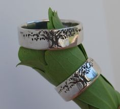Tree of Life Ring Set 8mm wide Sterling silver by LStellaJewelry, $225.00