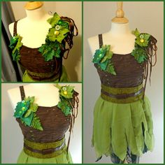 Green and Brown Sprite Fairy costume Costume Halloween, Diy Elf Costume, Troll Costume, Costume Dress, Cosplay Costumes, Fairytale Dress, Fairy Dress, Forest Fairy Costume, Little Mermaid Play