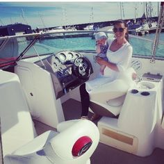 One of the many benefits of having a yacht broker BF! Casper & me on our fake boat!! #summer #boat #yacht #luxury #champagnelifestyle #fakers #baby #mama #mummy #family