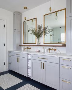 Light grey cabinets complementing brass fixtures in modern master bathroom. via Homepolish. Bad Inspiration, Bathroom Inspiration, Bathroom Ideas, Bathroom Designs, Bath Ideas, Bathroom Inspo, Boho Bathroom, Bathroom Layout, Budget Bathroom