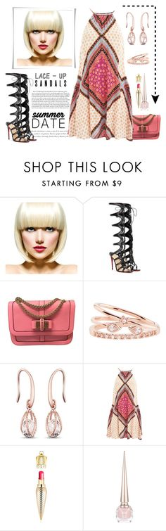 """Lace-Up Sandals on Summer Date"" by conch-lady ❤ liked on Polyvore featuring WigYouUp, Christian Louboutin, Accessorize, MINKPINK, contestentry, laceupsandals and PVStyleInsiderContest"