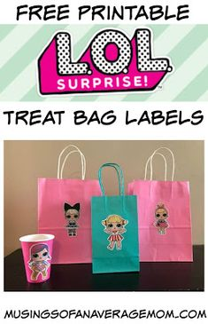 Free Printable LOL Surprise party supplies - treat bag lablels