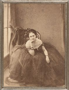 The Gaze  Pierre-Louis Pierson 1856-57,       Albumen silver print from glass negative - Virginia Oldoini, Countess Verasis de Castiglione (1837-1899), created a sensation when she appeared in Paris in 1855. Her raging narcissism found in photography the perfect ally; the firm of Mayer & Pierson produced over seven hundred different images of her.