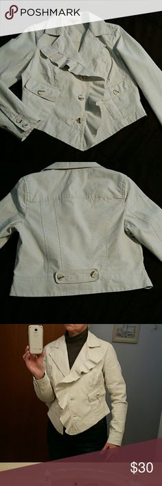 CABI waxed linen blazer Beautiful pearly white, waxed linen blazer, looks like leather, fabulous detailing and in excellent condition. CAbi Jackets & Coats Blazers