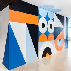 The finished Craig and Karl mural at 120 Wall St. - Photo by Charles Benton. Office Mural, Office Walls, Environmental Graphic Design, Environmental Graphics, Mural Art, Wall Murals, Wall Art, Craig And Karl, Office Graphics