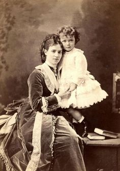 Maria Feodorovna with her son Niki (Nicholas II) 1870