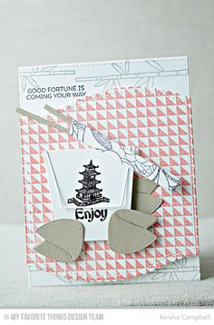 Good Fortune Stamp Set, Chinese Takeout Die-namics, Sushi Date Stamp Set, Split Triangle Background, Stitched Scallop Basic Edges Die-namics - Keisha Campbell  #mftstamps