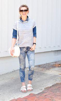 denim on denim+floral jeans+white accessories Love Maegan (Fashion Blogger)