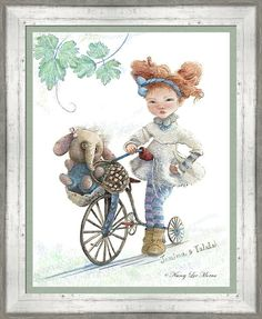 """Art for your daughter's room! """"Jemima Starling And Her Elephant Friend"""" © Nancy Lee Moran is on Fine Art America. Click the image to see it, then choose your own mat, frame, and print size. This frame is BWM3 White Wash (in the """"White"""" drop-down menu). Mat is Congo Green, one inch wide. Print size as shown is 23 x 30 inches. #purple #blue #toy #elephant #tricycle #girl #print #frame #FineArtAmerica"""