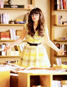 zooey deschanel yellow dress