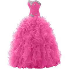 Sunvary 2014 Rhinestone Pleated Ball Gown Prom Dresses for Quinceanera... ($100) ❤ liked on Polyvore