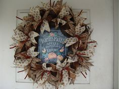 Only 45 Dollars...WHAT?  Farmers Market Thanksgiving Fall Autumn Deco Mesh Door Wreath, Wall, Gift, Get Together, Party, Peanuts by JandJPrettyThings on Etsy