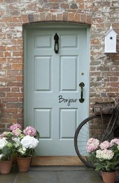 New exterior brick house colors french country decor 43 ideas Cottage Style Doors, Cottage Front Doors, Brick Cottage, Green Front Doors, House Front Door, Front Door Colors, Front Door Trims, House Doors, Front Porch