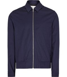 Mens Navy Check Harrington Jacket - Reiss Rocco