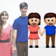 Halloween costume idea! The boy and girl iPhone emoji. I thought of it myself and wanted to share :)