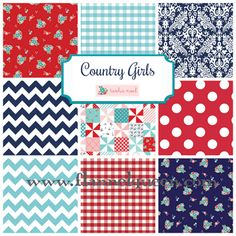 Fat Quarter Bundle - Country Girls Flannel by Riley Blake Navy Aqua Red. www.flannelqueen.com #flannelqueen #flannel #rileyblakedesigns