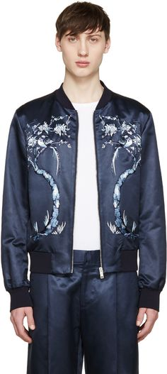 Alexander McQueen - Navy Embroidered Satin Bomber Jacket