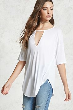 Forever 21 Contemporary - A knit flowy-fit tee featuring a V-shaped chest