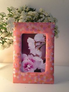 5x7 Sakura is blooming in Spring. White,gold and light purple Sakura flowers on pretty pink!! by MariPhotoframesJapan on Etsy