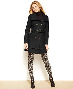 GUESS Tiered-Hem Belted Wool Coat