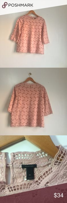 """J crew collection floral embroidered eyelet blouse Soft and delightful eyelet blouse with camisole in dusty rose. NWOT stand up collar has one button closure in back neck. Both camisole and blouse are 100%cotton.  machine wash ok.  Three fourth sleeves. size medium. specs below: shoulder:  15"""" bust (armpit to armpit): 19"""" length : 23"""" sleeve length : 16""""  New item without tags. Pristine condition. J. Crew Tops Blouses"""