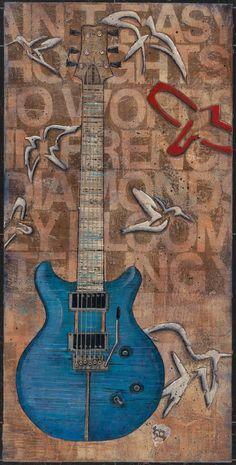 e20f3bd1600 artist  Ginger Grasley title  Whispered Notes of Suffrage size  X medium   acrylic and charcoal on birch info  Carlos Santana s PRS guitar