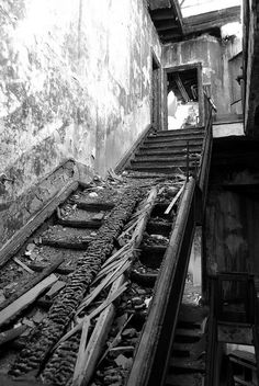 Dereliction. A real photography inspiration for me is marauding around derelict buildings with my camera. Something eerie and exciting about them, like the life that once lived there you can feel as you snap away, you can almost picture what used to happen there. This is a shot I took of the staircase at the old Royal Pier Hotel in Weston Super Mare, now burnt to a crisp.