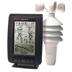 "Mfr #: 00634, Height: 8"", 2-in-1 wireless sensor is easy to set up, Indoor / outdoor temperature with trend arrows, Wind speed / gust / chill, Indoor / outdoor humidity with trend arrow, Barometric pressure, Press history button to scroll through and view history bar graph for temp, humidity an pressure, Self calibrating, Future forecast, 14 - Day learning mode – icon will not appear on LCD, Moon phase, Calendar / month / date, Record high / lows, Trend arrows, Atomic timeContents: One base…"