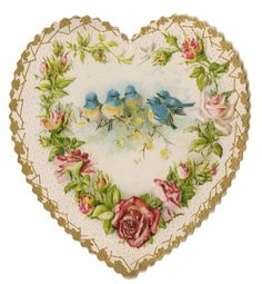 Valentine heart. Imagine this using silk flower embroidery, cross-stitch bluebirds as a crazy-quilting patch.