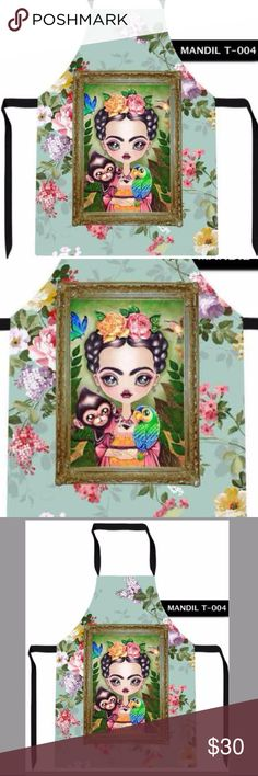 New Frida Kahlo Apron with Monkey & Parrot So Cute Very cute apron, new. Are you a fan of Frida Kahlo? This is a one of a kind, super cute apron, perfect for the artsy person, Folk art junkie, a gift to remember! Fits any size, adjustable straps, two front pockets, very cute and useful... and it is affordable too! The perfect gift! Cielito Lindo Tops Blouses