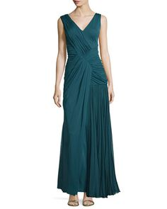 Sleeveless Plisse Draped Gown, Empress Green by J. Mendel at Neiman Marcus Last Call.