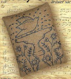 Primitive Folk Art Embroidery Pattern:  IN MY GARDEN - Drawer Sachet