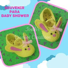Souvenir para baby shower Zapato de bebe en foami Conejito en foami